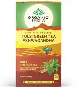 Bilde av Organic India Tulsi Green Tea Ashwagandha 25 poser